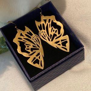 🦋 18kt Gold Plated Dangle Butterfly Earrings 🦋